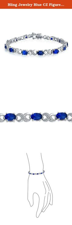 Bling Jewelry Blue CZ Figure 8 Infinity Tennis Bracelet 7in Rhodium Plated. Your love is infinite. Show off that passion with our cz Simulated Sapphire bracelet. Our shining silver tone bracelet is made up of alternating pieces of blue cz stones and figure 8 links that have meant love for years. A stunning oval cut Simulated Sapphire colored stones sit beside figure eight infinity symbols for a unique piece of cz Simulated Sapphire jewelry. If you are looking to let her know how much you...