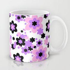 Pink Purple Black Floral Mug, add matching wallpaper border, duvet, pillow, rug, clock, shower curtain, and more #decampstudios