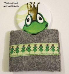 Taschenspiegelset -Frosch- Wollfilzhülle  von ღKreawusel-Designღ auf DaWanda.com