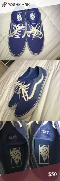 Blue Vans Blue Vans with white detailing on the side. Worn maybe twice they're in very good shape and very clean and comfortable! Willing to bargain the price! Vans Shoes Sneakers