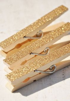 gold glitter clothespins for closing presents