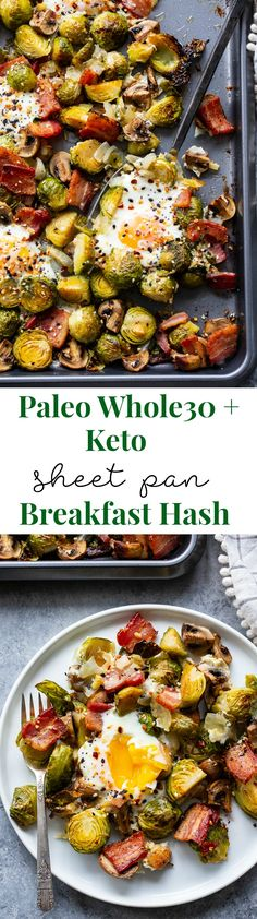 Sheet Pan Breakfast Hash {Paleo, Keto, Whole30} | This paleo sheet pan breakfast hash is perfect for when you want a set it and forget it breakfast!  The veggies and bacon roast in the oven and the eggs bake on the sheet pan at the very end.  It's low carb and keto friendly, Whole30 compliant, super easy and full of flavor!