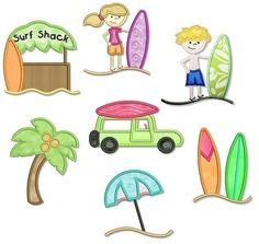 SURF'S UP  Applique SET 4x4 5x7 6x10  Machine Embroidery Design beach girl boy. $7.49, via Etsy.