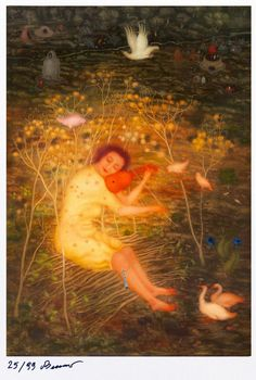 Schwanengesang by Arik Brauer Anton, Rudolf Hausner, Vienna School Of Fantastic Realism, Illusion Paintings, Outsider Art, Goldfish, Printmaking, Countryside, Illusions