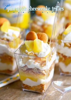 These Mini Pineapple Cheesecake Trifles are loaded with pineapple flavor! Perfect for an after-school snack, dessert, or party!
