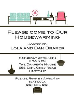 Housewarming party invitations from purpletrail love this for Things to do at a housewarming party