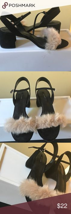 Zara suede and Furry Sandals like new 41 Adorable with jeans or a feminine dress. Will fit a large 10. (Wide foot) or 41 Zara Shoes Sandals