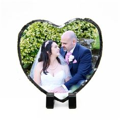 Personalised Photo Print - Natural Rock Slate - Heart shape cm x 13 cm - Custom Image with stands - Photo Gift Slate, Heart Shapes, Fathers Day, Print Design, Birthday Gifts, Photo Gifts, Birthdays, Valentines, Black And White