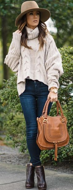 Nude Chunky Cable Knit Sweater Fall Streestyle Inspo by Sequins & Things
