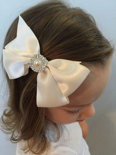 Flower girl bow - Ivory wedding hair - Ivory satin bow - Flower girl - Dressy bow girl - Easter hair bow - Pearl bow - LITTLE SIDE BOW 2 by AirosaHill on Etsy https://www.etsy.com/listing/249238433/flower-girl-bow-ivory-wedding-hair-ivory