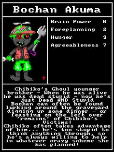 Chibi Akumas Character Cards: Bochan Akuma http://www.chibiakumas.com/ep2 #chibiakumas #chibi #akuma #retrogames #retrogaming #gothic #amstradcpc #8bit #チビ #ちび #悪魔