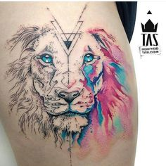 Beautiful fine line watercolor lion tattoo. I would get it minus the geometric designs, plus more color.