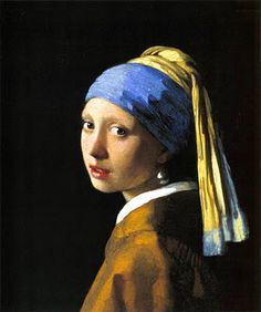 Jan Vermeer - Dutch 1632-1675 Girl with the Pearl Earring circa 1665  Oil on canvas 17.5 in x 15 inch Painted during Dutch Golden Age period Indian yellow, and Lapis lazuli blue used. One of my favorites of Vermeer's. <3
