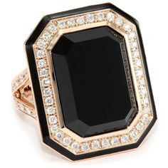 "Ivanka Trump ""Octagonal"" Cocktail Ring with Black Onyx and Diamonds ($3,250) ❤ liked on Polyvore featuring jewelry, rings, accessories, anel, black, geometric rings, diamond cocktail rings, statement diamond rings, octagon diamond ring and diamond jewelry"