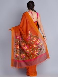 Orange Matka Silk Handowoven Jamdani Saree