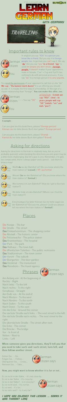Learn German - Way directions/ causal/ formal by TaNa-Jo.deviantart.com on @DeviantArt