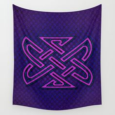 CELTIX #2.3 Vibrant Psychedelic Celtic Optical Illusion Design Wall Tapestry