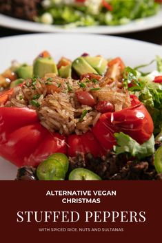 This easy recipe for vegan stuffed peppers with spiced rice is simple enough for a midweek meal and fancy enough for a celebration. Filled with gently spiced rice, nuts and onions they are a real savoury treat! Midweek Meals, Easy Meals, Vegan Stuffed Peppers, Spiced Rice, Vegan Christmas, Onions, Vegan Recipes, Celebration, Beef