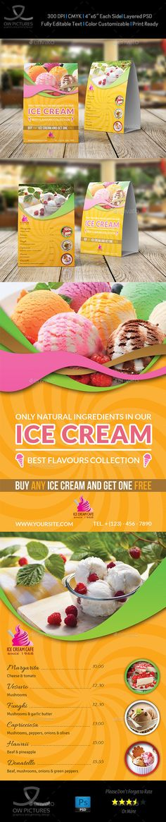 Ice Cream Table Tent Template - Food Menus Print Templates