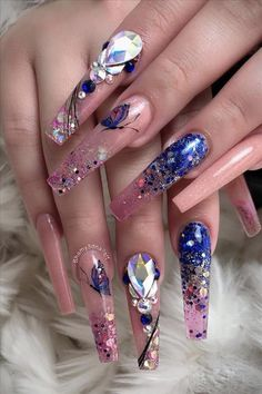 Trendy Acrylic Coffin Nails Design To Light Up Your Spring & Summer - Latest Fashion Trends For Woman Butterfly Nail Designs, Butterfly Nail Art, White Nail Designs, Beautiful Nail Designs, Nail Art Designs, Nails Design, Coffin Nails Matte, Long Acrylic Nails, Pink Coffin