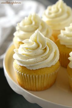 These Vanilla Bean Cupcakes are tender and fluffy and topped with ultra creamy mascarpone buttercream frosting made with real vanilla beans! They're perfect for parties, birthdays, or any occasion at all! Easy Vanilla Cupcakes, Vanilla Bean Frosting, Buttercream Frosting For Cupcakes, Fancy Cupcakes, Caramel Frosting, Yummy Cupcakes, Frosting Recipes, Icing, Homemade Vanilla