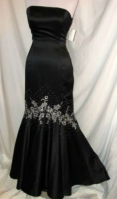Sz 9 10 Be Smart Lace Back Black Fitted Mermaid Evening Dress Embroidery NWT