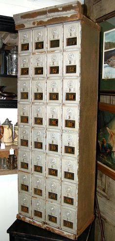 Post Office ... Antique Post Office Boxes Archetectural by RememberWhenShoppe
