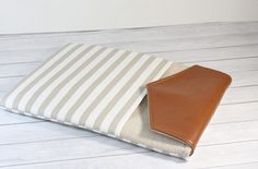 Leather Macbook 12 inch Case Cover Macbook 12 Sleeve iPad Pro Case foam Padded Handmade Macbook 12 Bag in Tan Stripes by dashingcrafts on Etsy
