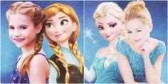 Mackenzie as Anna and Chloe as Elsa from disney frozen