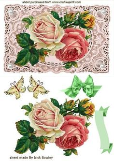 ROSES ON VINTAGE LACE WITH PEARLS on Craftsuprint designed by Nick Bowley - ROSES ON VINTAGE LACE WITH PEARLS,A stunning card for mothers day,  - Now available for download!