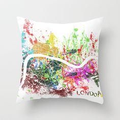 London map Throw Pillow by Nicksman - $20.00