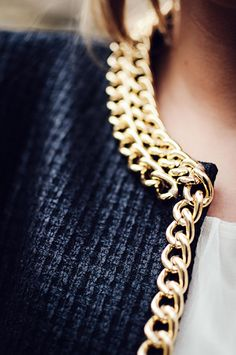 Navy with gold chain trim