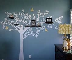 """PopDecors - Big tree with love birds (100"""" W) Long Right Branch - Beautiful Tree Wall Decals for Kids Rooms Teen Girls Boys Wallpaper Murals Sticker Wall Stickers Nursery Decor Nursery Decals Pop Decors http://www.amazon.com/dp/B00KU84STQ/ref=cm_sw_r_pi_dp_ACgKvb14G2AN2"""