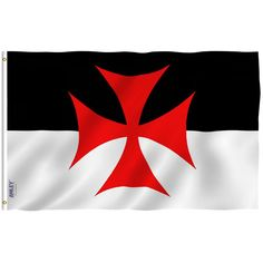 Anley Fly Breeze Foot Knights Templar Battle Flag - Vivid Color and UV Fade Resistant - Canvas Header and Double Stitched - Roman Catholic Church Flags Polyester with Brass Grommets 3 X 5 Ft Couple Ulzzang, Norway Flag, Crusader Knight, Watercolor Architecture, Templer, Flag Banners, 90s Nostalgia, American Traditional, Knights Templar