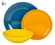 Servizio di piatti in gres ottanio, giallo, arancione - 18 pz