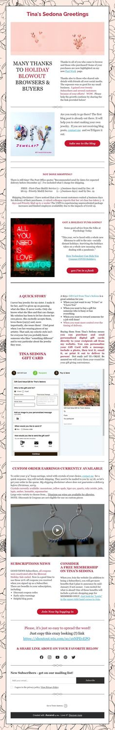 Tina's Sedona announces Membership including Private Shopping Page
