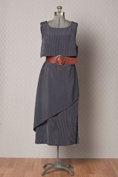 Womens 1980s Navy Blue Asymmetric Striped by vintagesalvation, $35.00