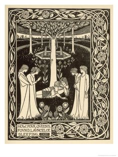 How Four Queens Found Lancelot Sleeping by Aubrey Beardsley. Giclee print from Art.com.