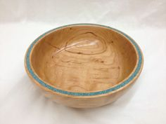 Curly Cherry Bowl with Turquoise inlay