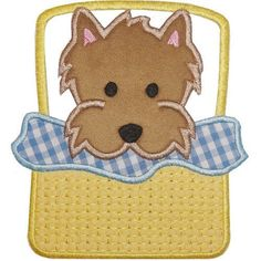 Applique Yorkshire Terrier Puppy in Basket Shirt - Embroidered Yorkie Puppy Machine Embroidery Applique, Iron On Applique, Applique Patterns, Applique Designs, Embroidery Designs, Embroidery Files, Storybook Characters, Yorkshire Terrier Puppies, Yorkie Puppy