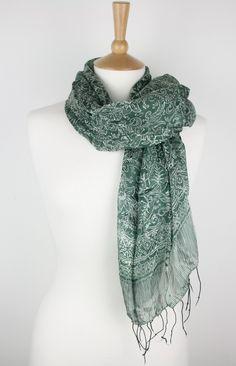 indonesian scarves | Dark Spring Green Indonesian Batik Womens Scarf 100% Pure Silk - Large ...