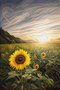 Beautiful sunset with the sunflower field. by Anupong Intawong - Photo 154693381 - Sunflower Art, Sunflower Fields, Psychedelic Art, Acid Art, Trippy Wallpaper, Stoner Art, Psy Art, Hippie Art, Visionary Art