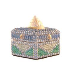 Sailor's Valentine Blue Seashell Box