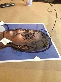 wire sculpture self-portrait