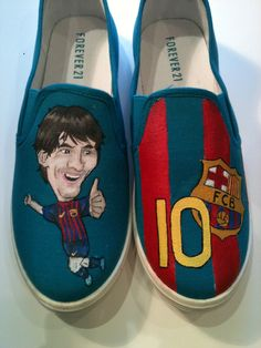 FC Barcelona Shoes, the barcelona's badget si the right and messi and the left