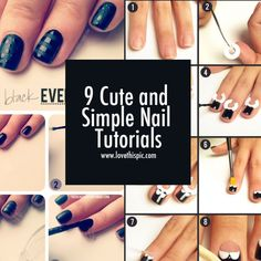 9 Cute and Simple Nail Tutorials. My favorite is the galaxy.