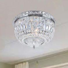 Nerisa Chrome Crystal Flush Mount Chandelier   Overstock.com Shopping - The Best Deals on Sale