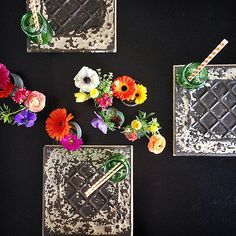 How to make DIY Vintage Ceiling Tile Chargers! So pretty for a dinner party! @sandycoughlin