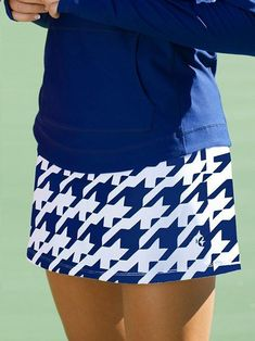 Cosmopolitan (Blue Houndstooth) JoFit Ladies Plus Size Swing Tennis Skorts at Loris Golf Shoppe #tennislife
