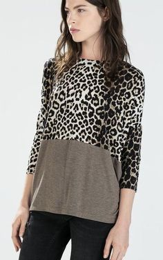 ZARA W & B Collection Leopard Color Block Dolman Sleeve Tunic Top L #ZaraWBCollection #tunic #casualcareer
